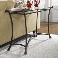 Contemporary Metal Sofa Table with Glass Top by Hammary