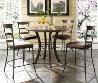 5 Piece Round Counter Height Table & Ladder Back Stools ...