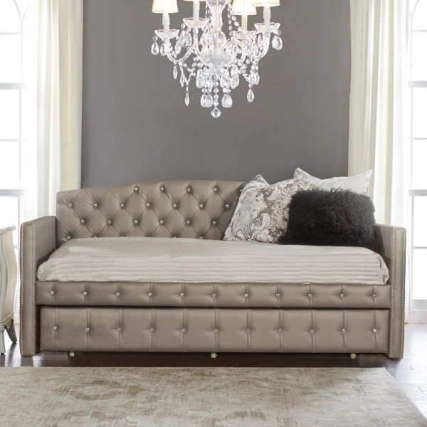 Upholstered Daybed And Trundle With Diamond Tufting