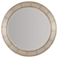 Wood Frame Round Mirror with Metal Inlay by Hooker ...