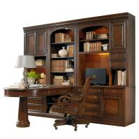 Office Wall Unit with Peninsula Desk, Computer Credenza