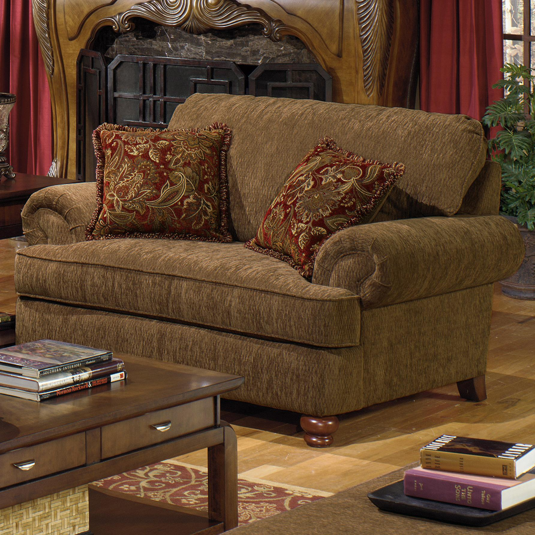 Chair and a Half with Rolled Arms and 2 Decorative Pillows