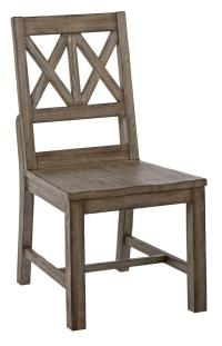 Rustic Solid Wood Side Chair with Weathered Gray Finish ...