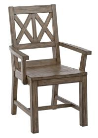 Rustic Solid Wood Arm Chair with Weathered Gray Finish and