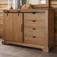 Transitional Rustic Sliding Barn Door Media Chest with ...