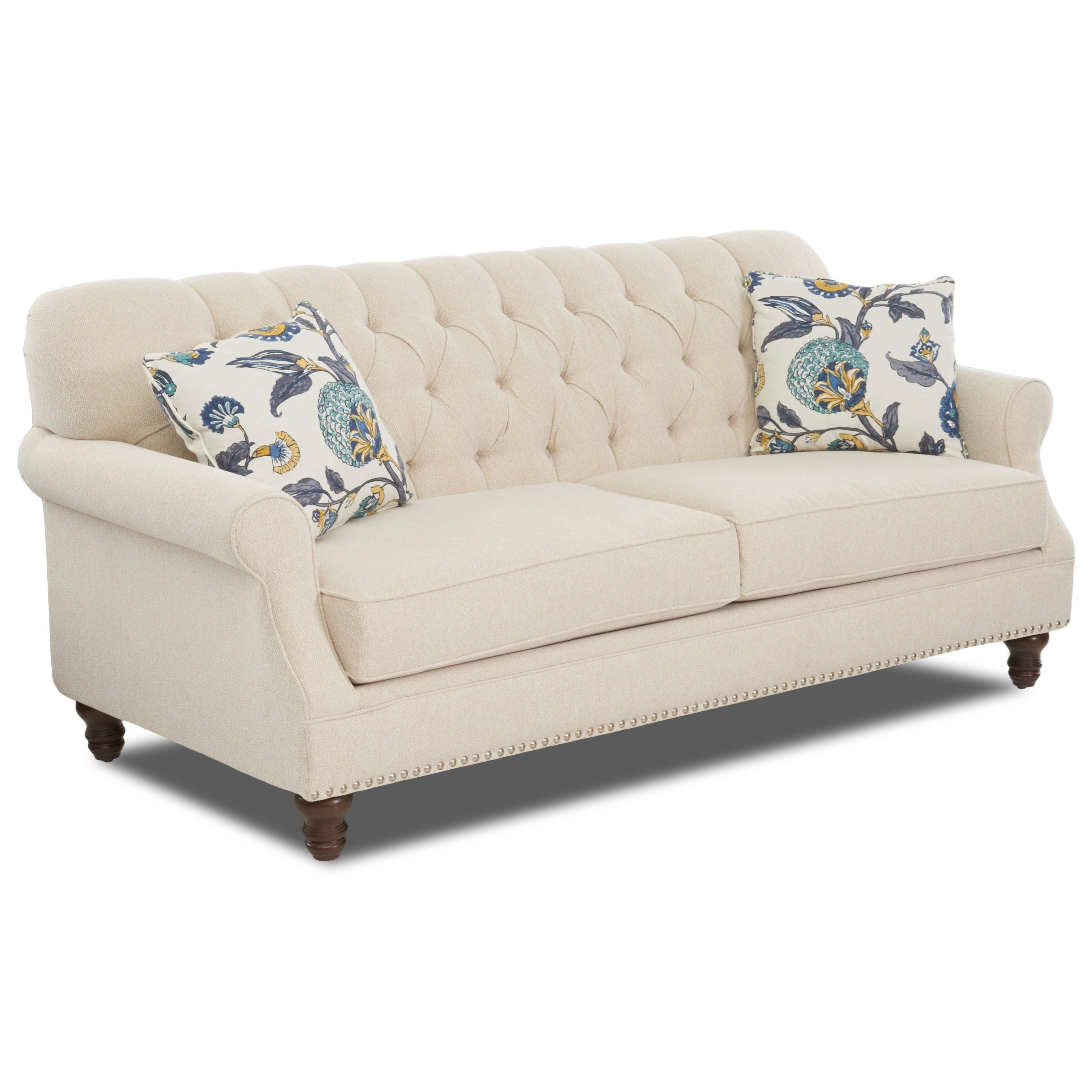 Traditional Tufted ApartmentSize Sofa with Nailheads by Klaussner  Wolf Furniture