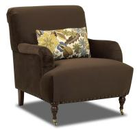 Traditional Accent Chair with English Arms and Turned Legs ...