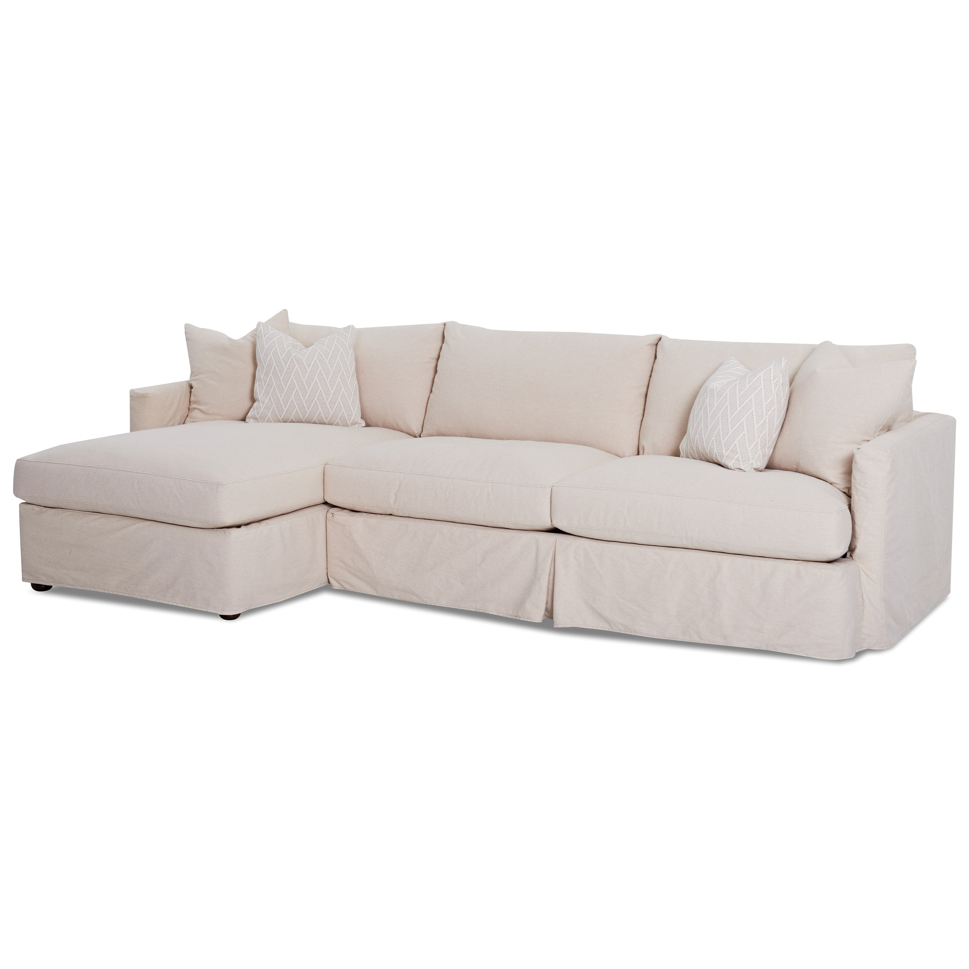 2 Pc Sectional Sofa with Slipcover and LAF Chaise by