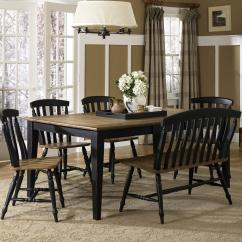 Liberty Dining Chairs Contemporary Leather Room Six Piece Table Set With And Bench By Furniture Wolf Gardiner