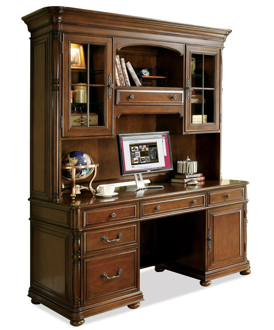 Large Office Computer Desk and Hutch by Riverside