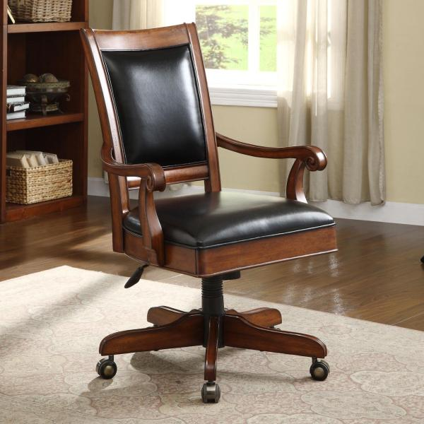 wooden office desk chairs Caster Equipped Wooden Desk Chair with Leather Covered