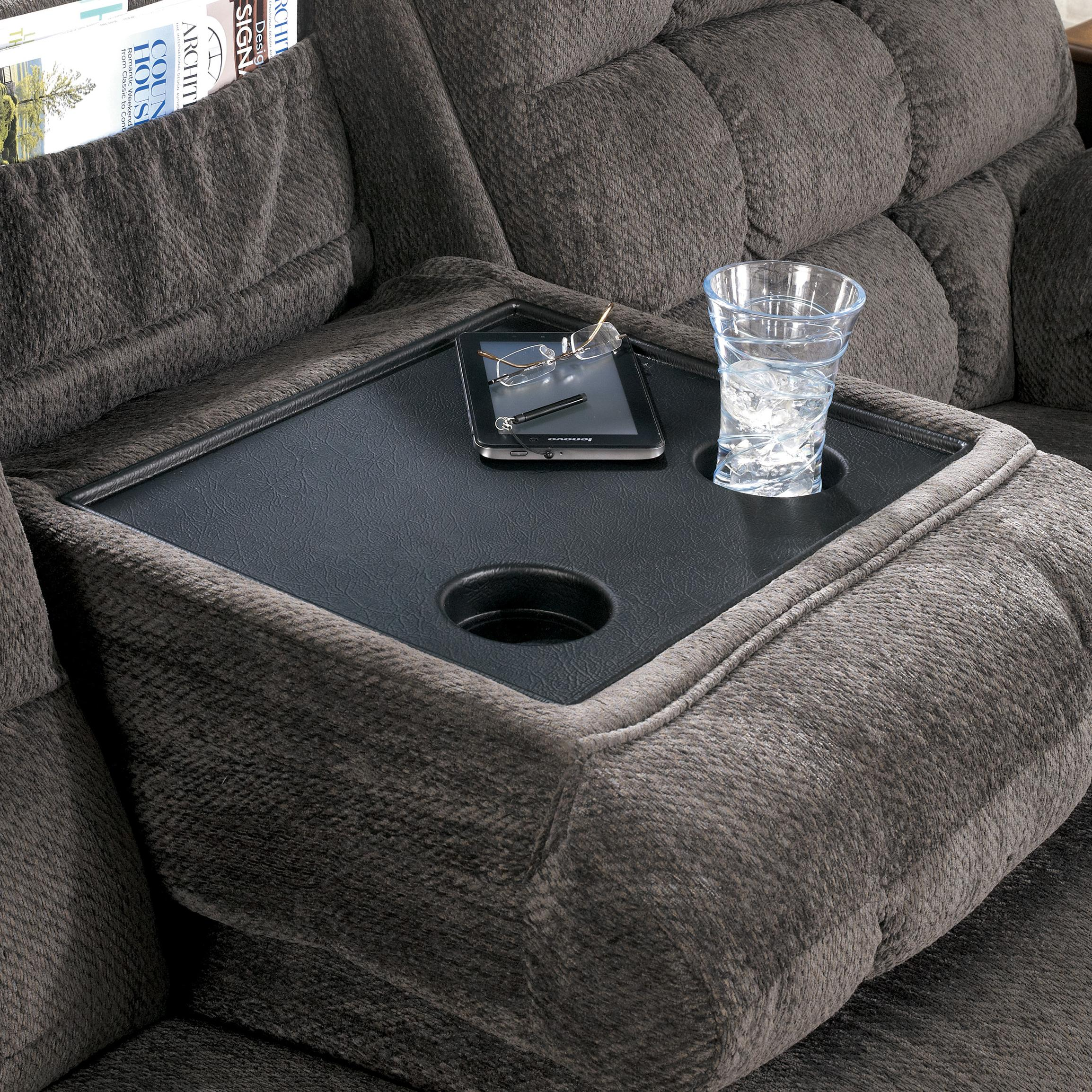 Reclining Sectional With Left Side Loveseat Cup Holders And Charging Station By Signature