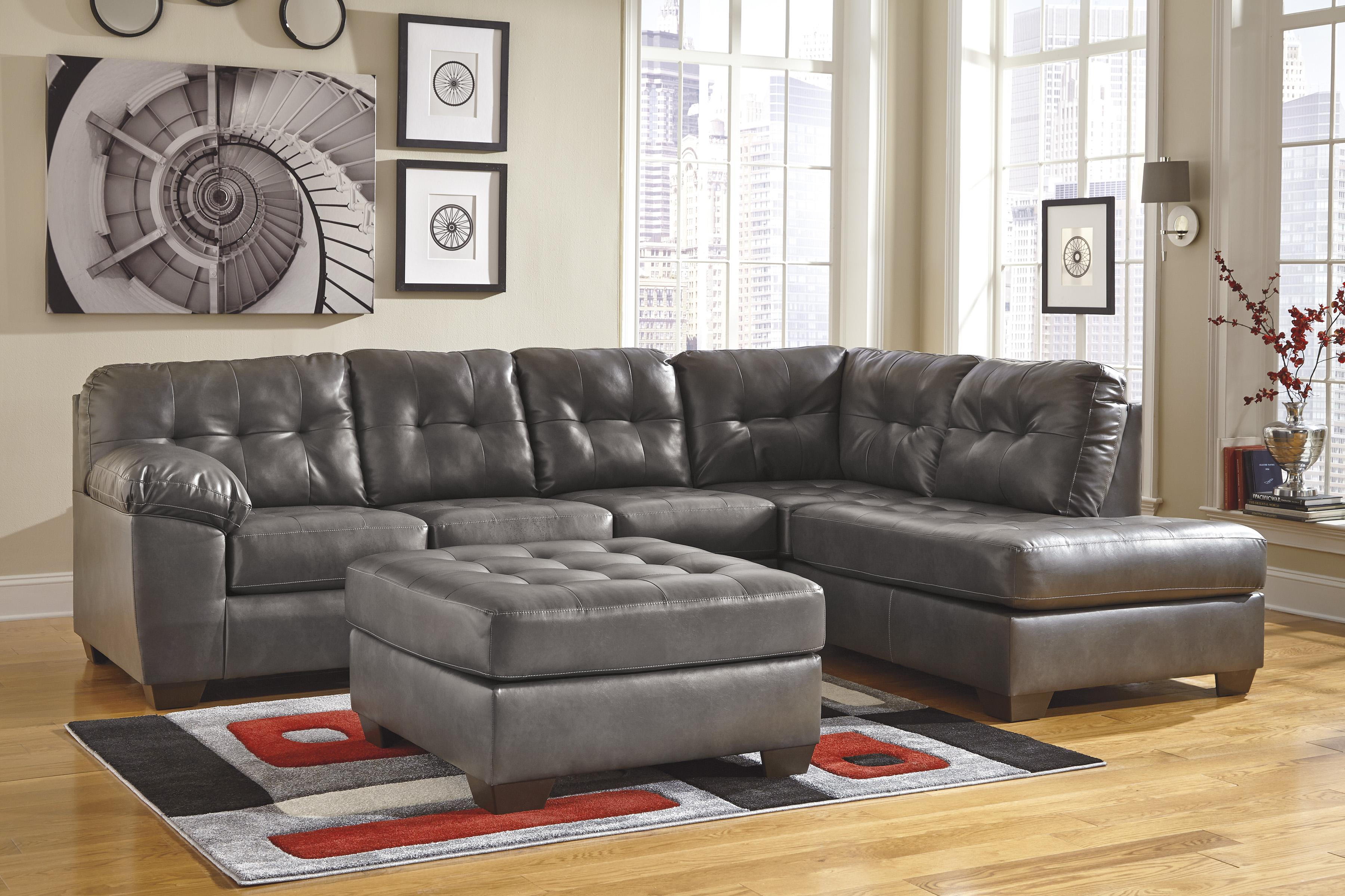 Faux Leather Sectional W Right Chaise Amp Tufting By