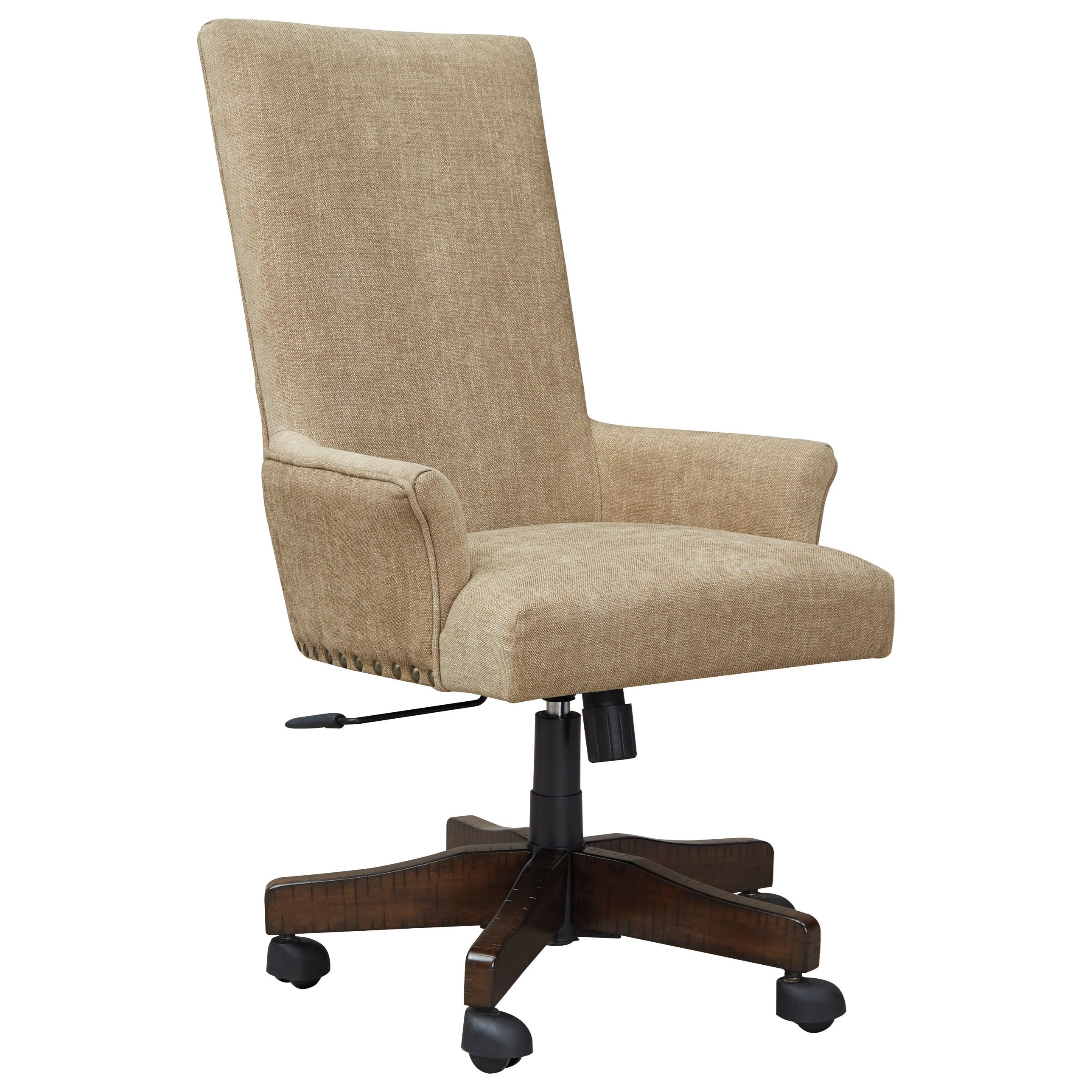 Contemporary Upholstered Swivel Desk Chair with Nailhead