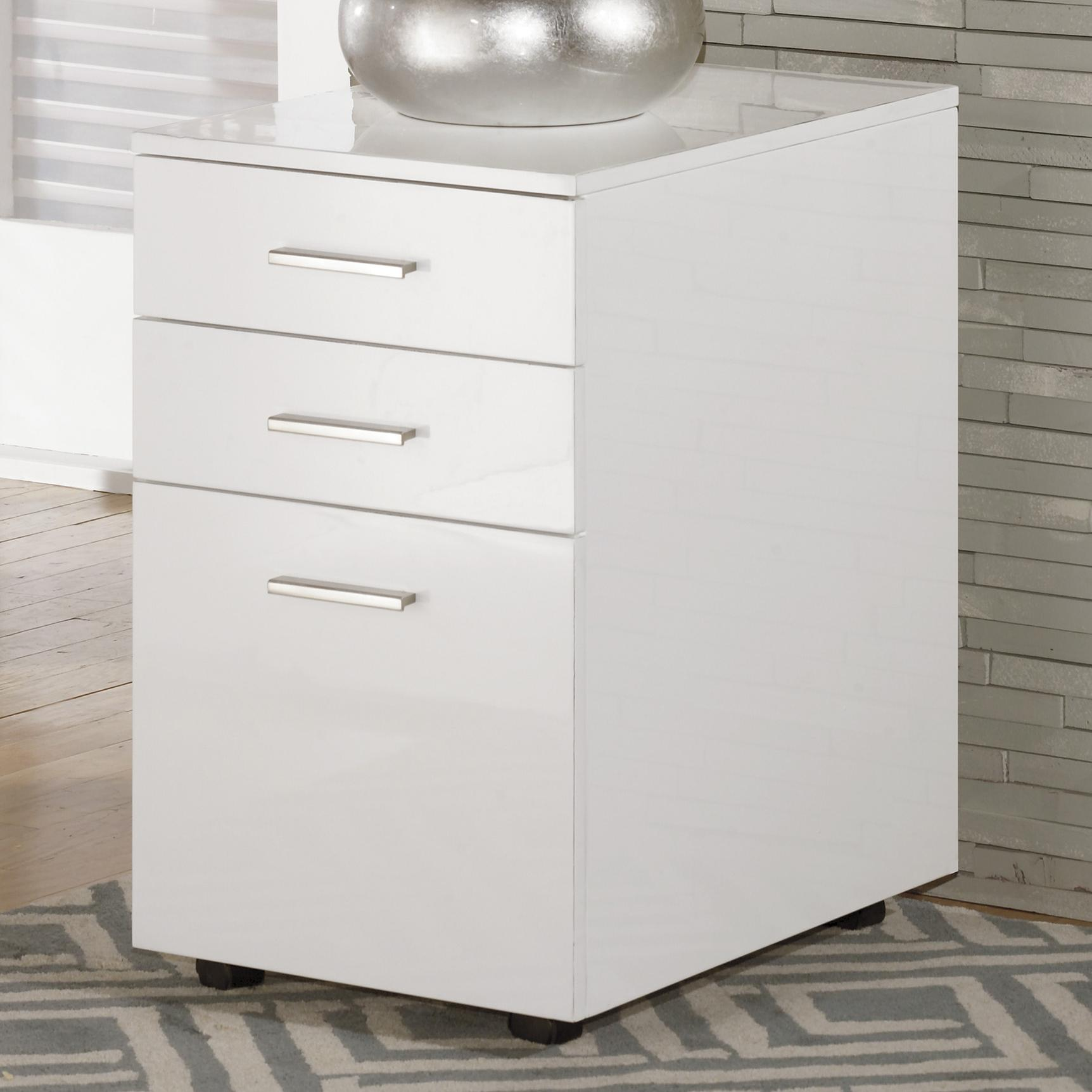 Full Gloss White File Cabinet with Casters by Signature