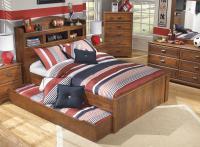 Full Bookcase Bed with Trundle Under Bed Storage Unit by