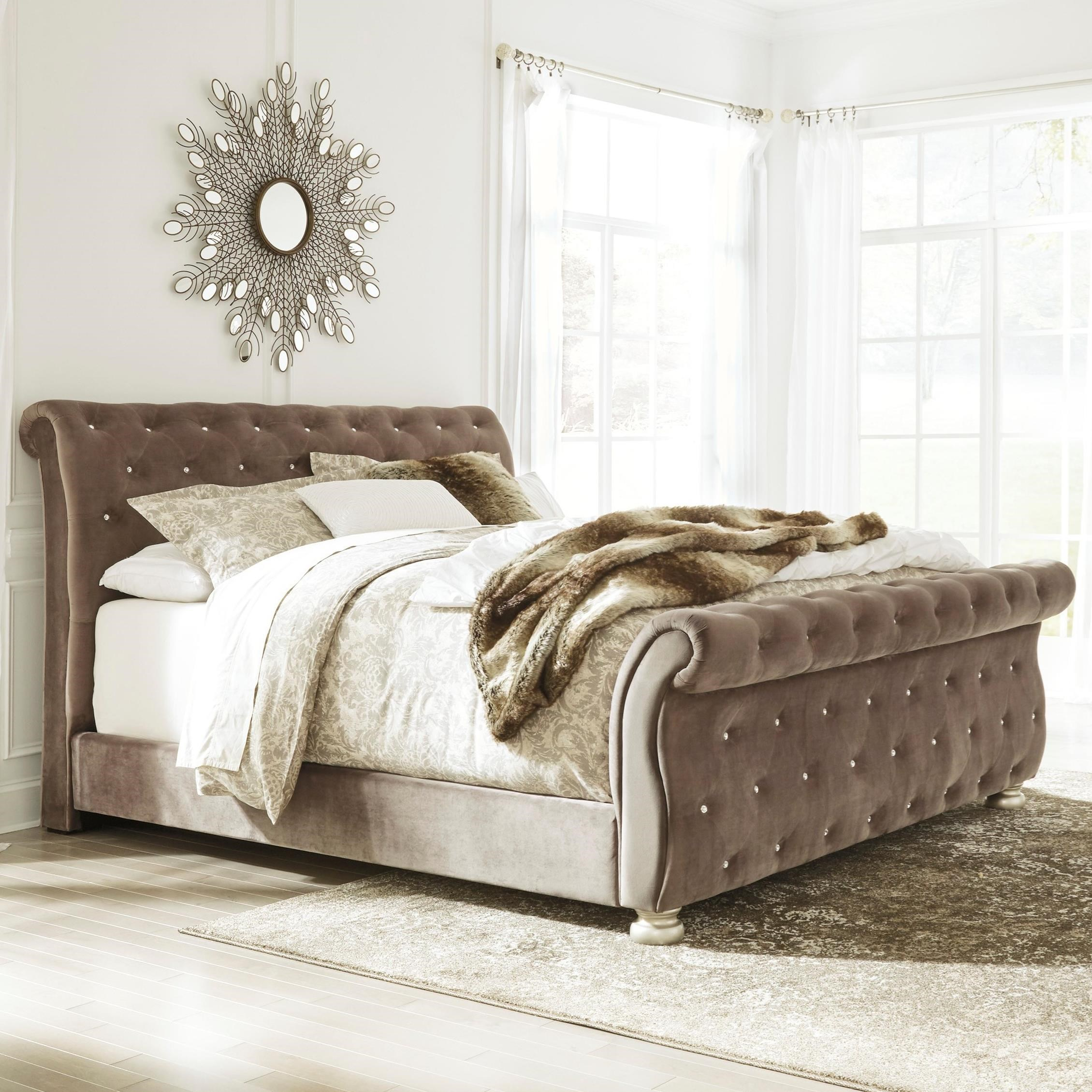 King Upholstered Sleigh Bed With Faux Crystal Tufting By
