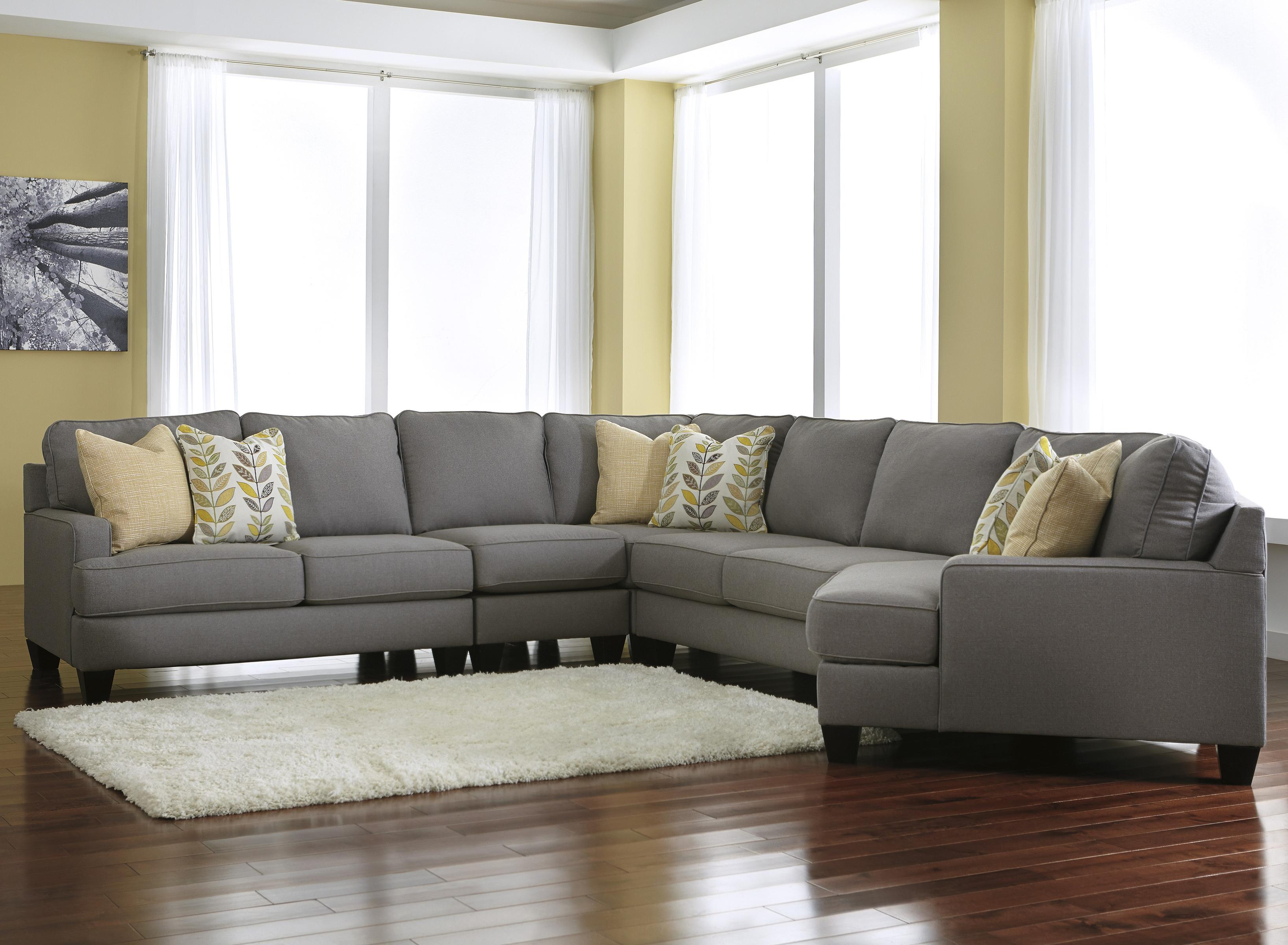 Modern 5Piece Sectional Sofa with Right Cuddler
