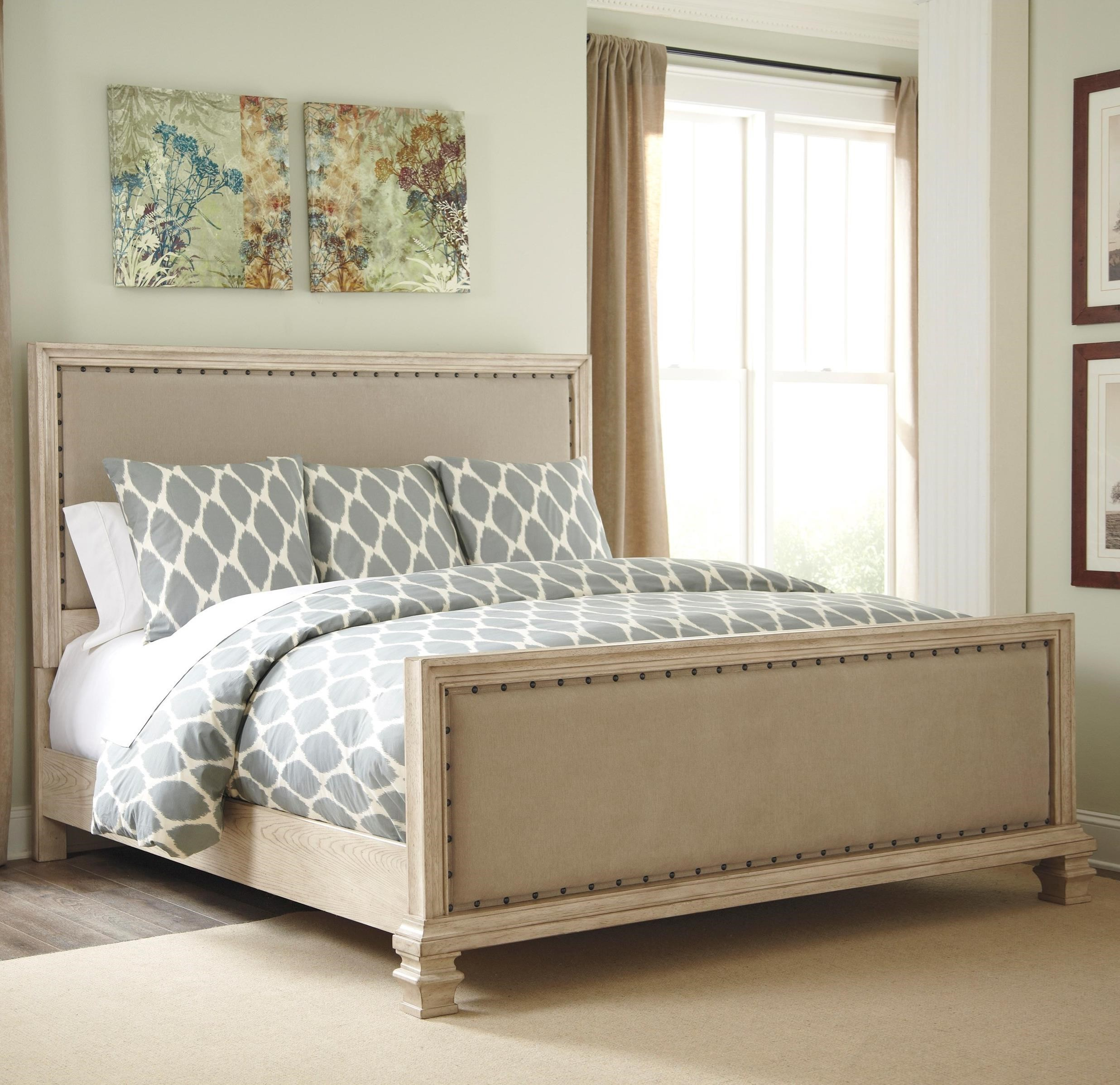 King Upholstered Panel Bed With Upholstered Footboard By