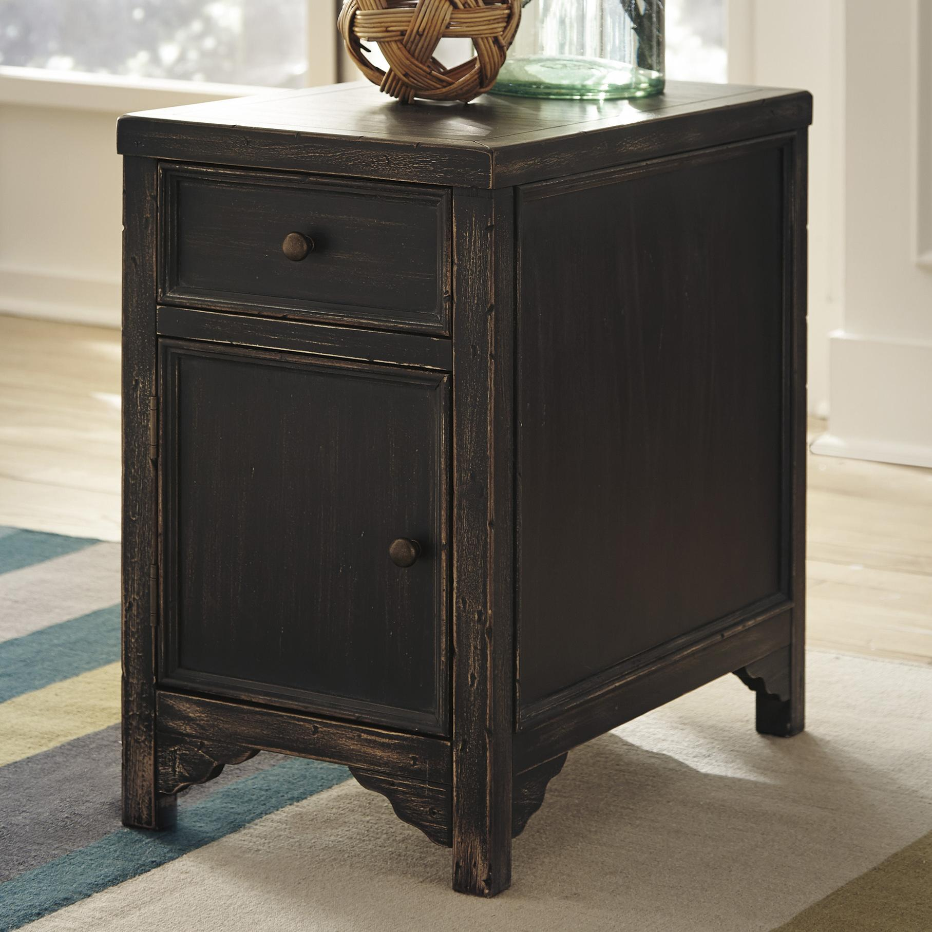 Distressed Chair Side End Table Accent Cabinet by