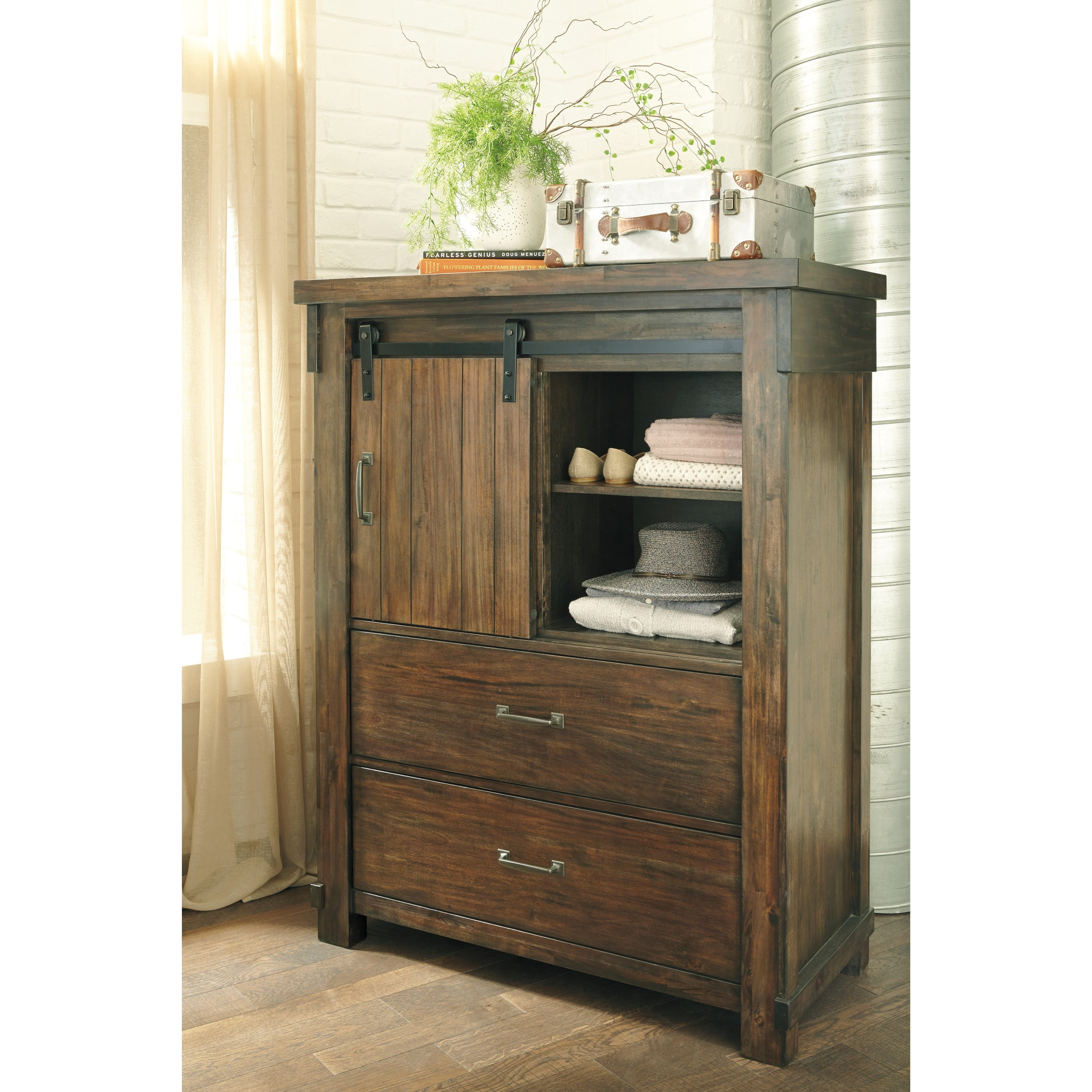 Five Drawer Chest With Barn Door By Signature Design By
