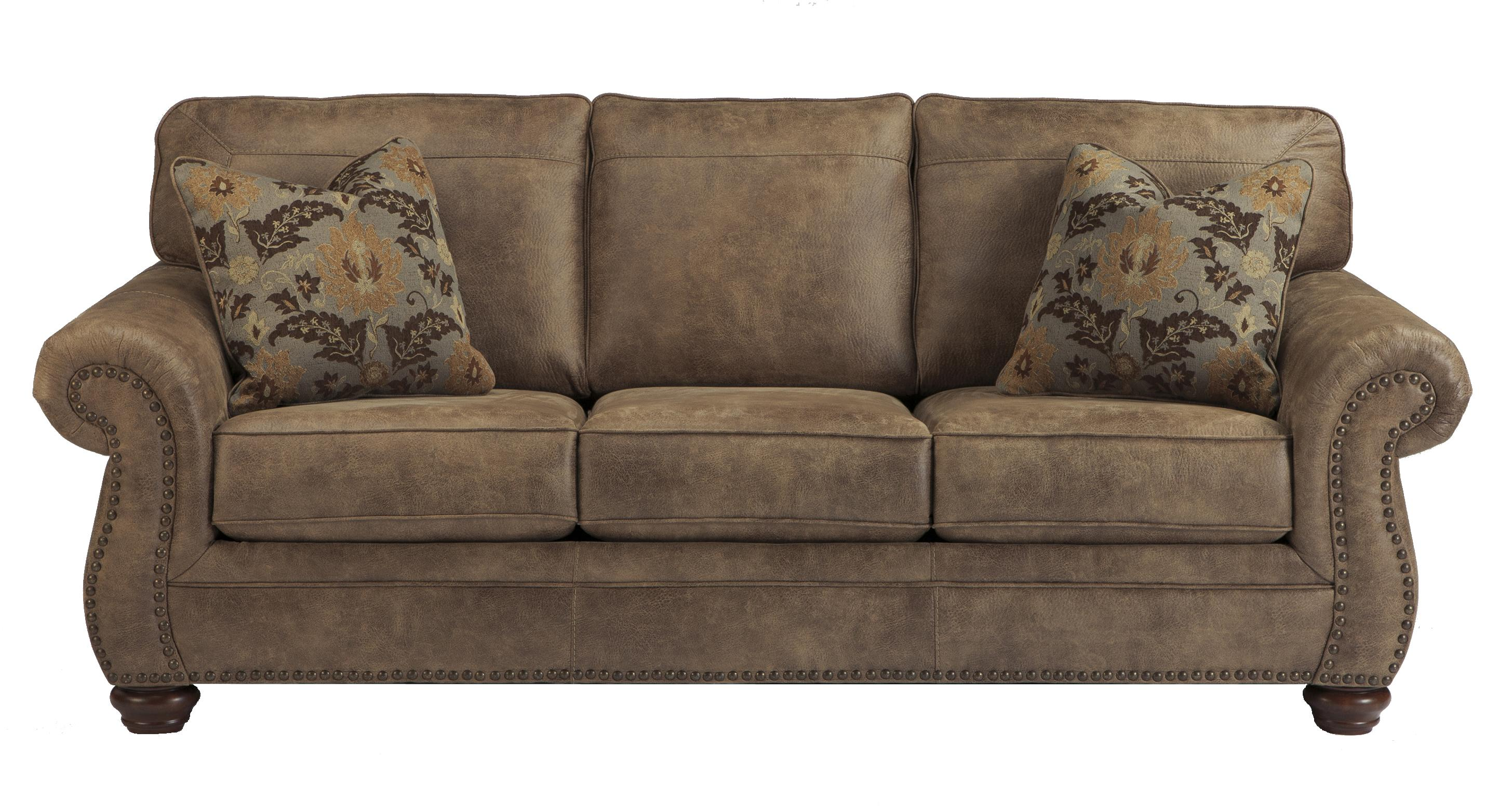 Traditional Roll Arm Faux Leather Sofa by Signature Design by Ashley  Wolf Furniture
