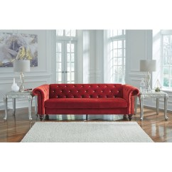 Emma Tufted Sofa Cream Red Cushions Chesterfield With Diamond Tufting By Signature Design Ashley Wolf And Gardiner Furniture