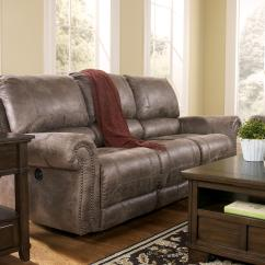Reclining Sofa With Nailhead Trim Ashley Montgomery Faux Leather Power Rolled Arms Nail Head