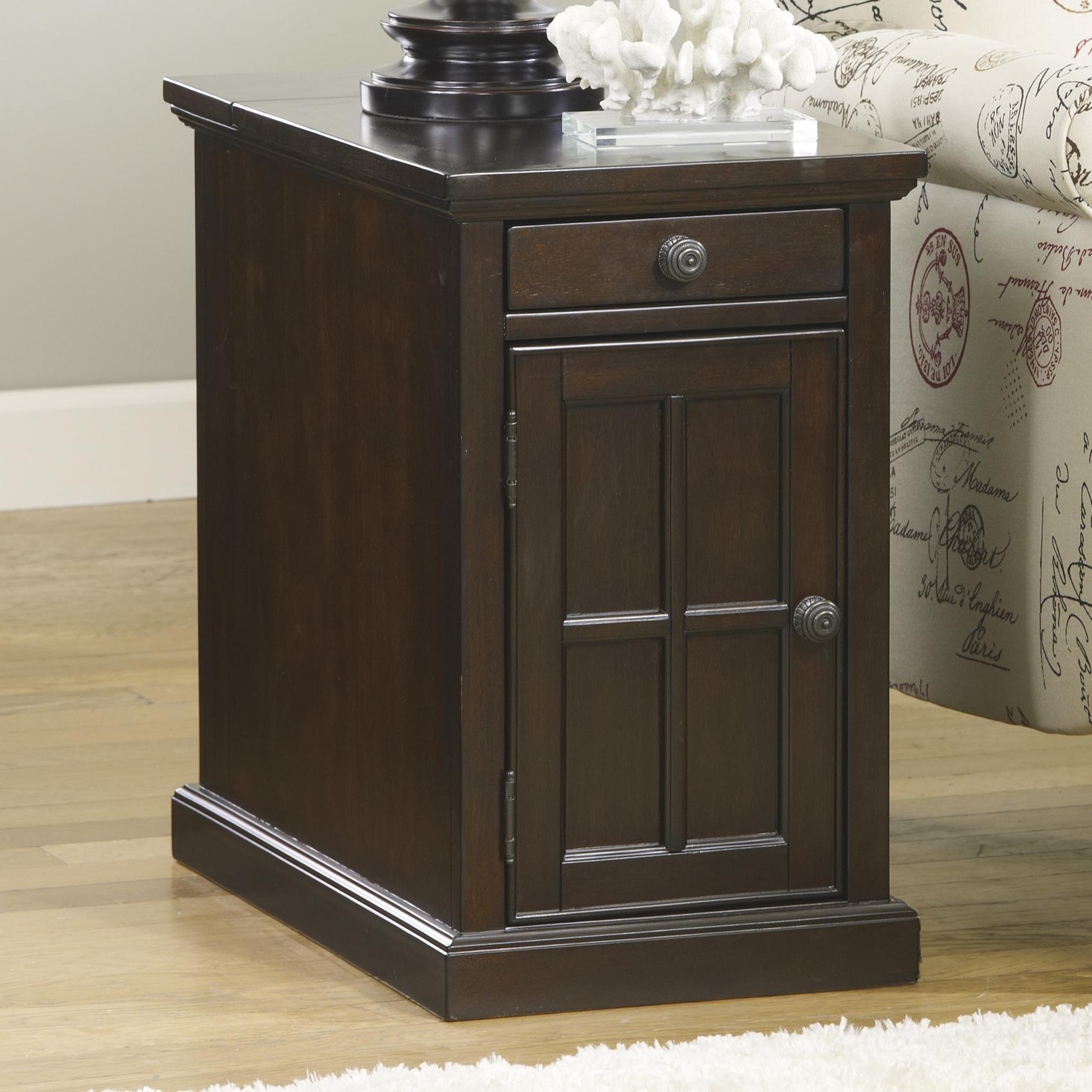 Chair Side End Table with Power Outlets & Pull