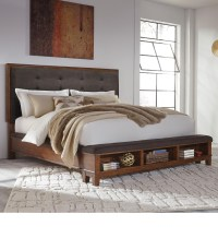 King Upholstered Bed with Bench Storage Footboard by ...