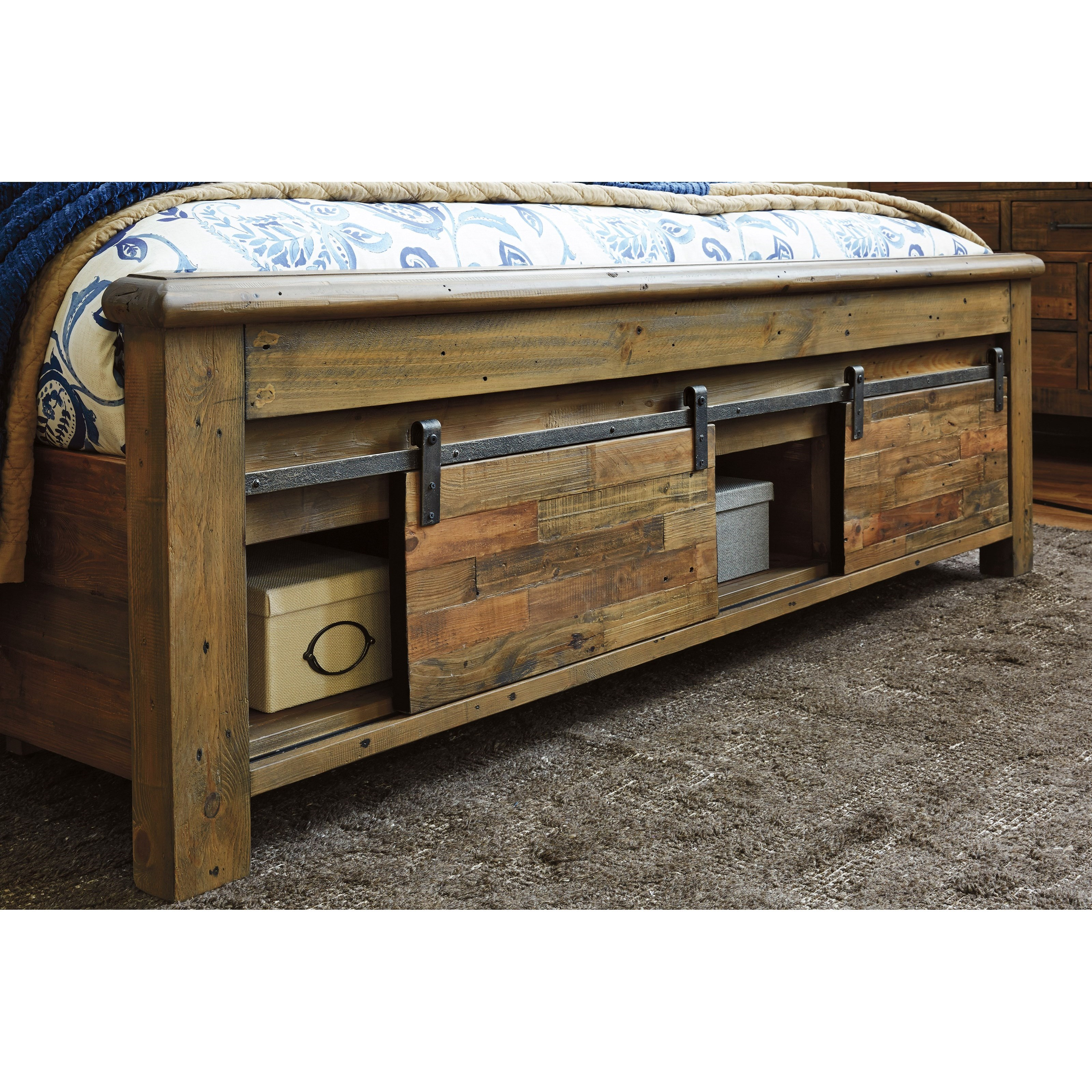 California King Panel Storage Bed With Barn Doors By