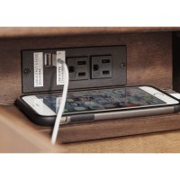 Chair Side End Table with Built-in Outlet & USB Charging ...