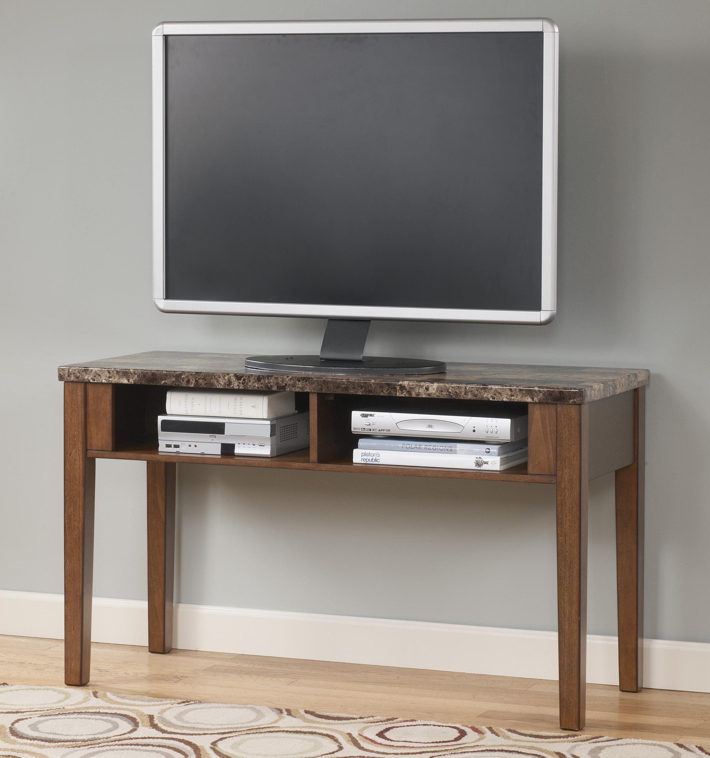 how to make a sofa table top italian furniture singapore tv console with faux marble by signature design