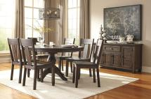 7-piece Oval Dining Table Set With Wood Seat Side Chairs