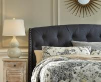 Queen Upholstered Headboard in Dark Gray with Tufting and ...