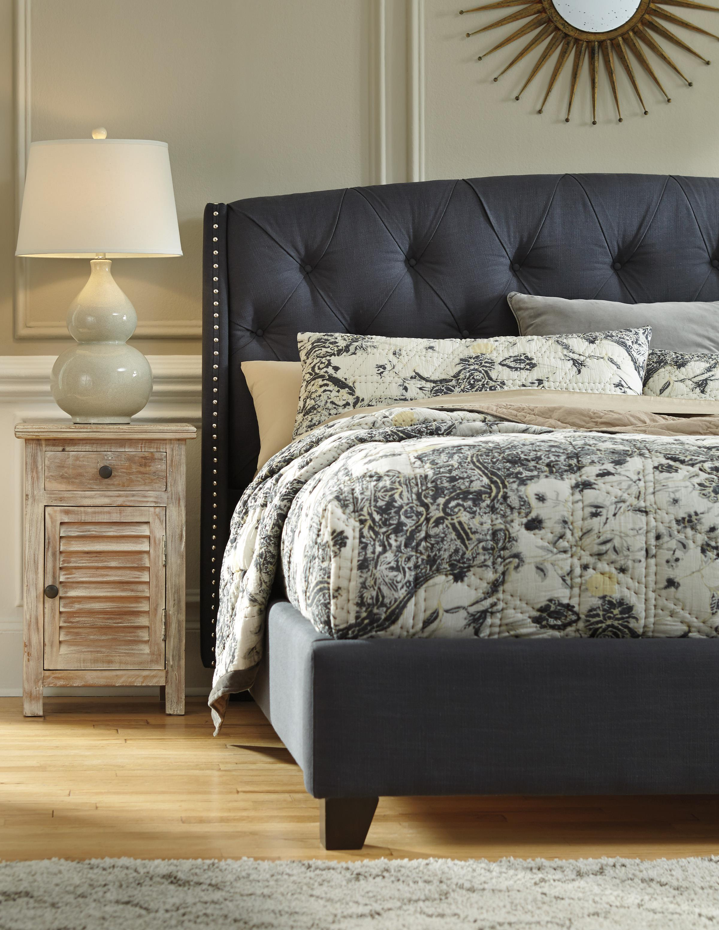 Queen Upholstered Bed in Dark Gray with Tufting and