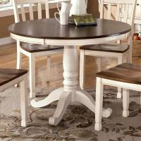 Two-Tone Round Table with Pedestal Base by Signature ...