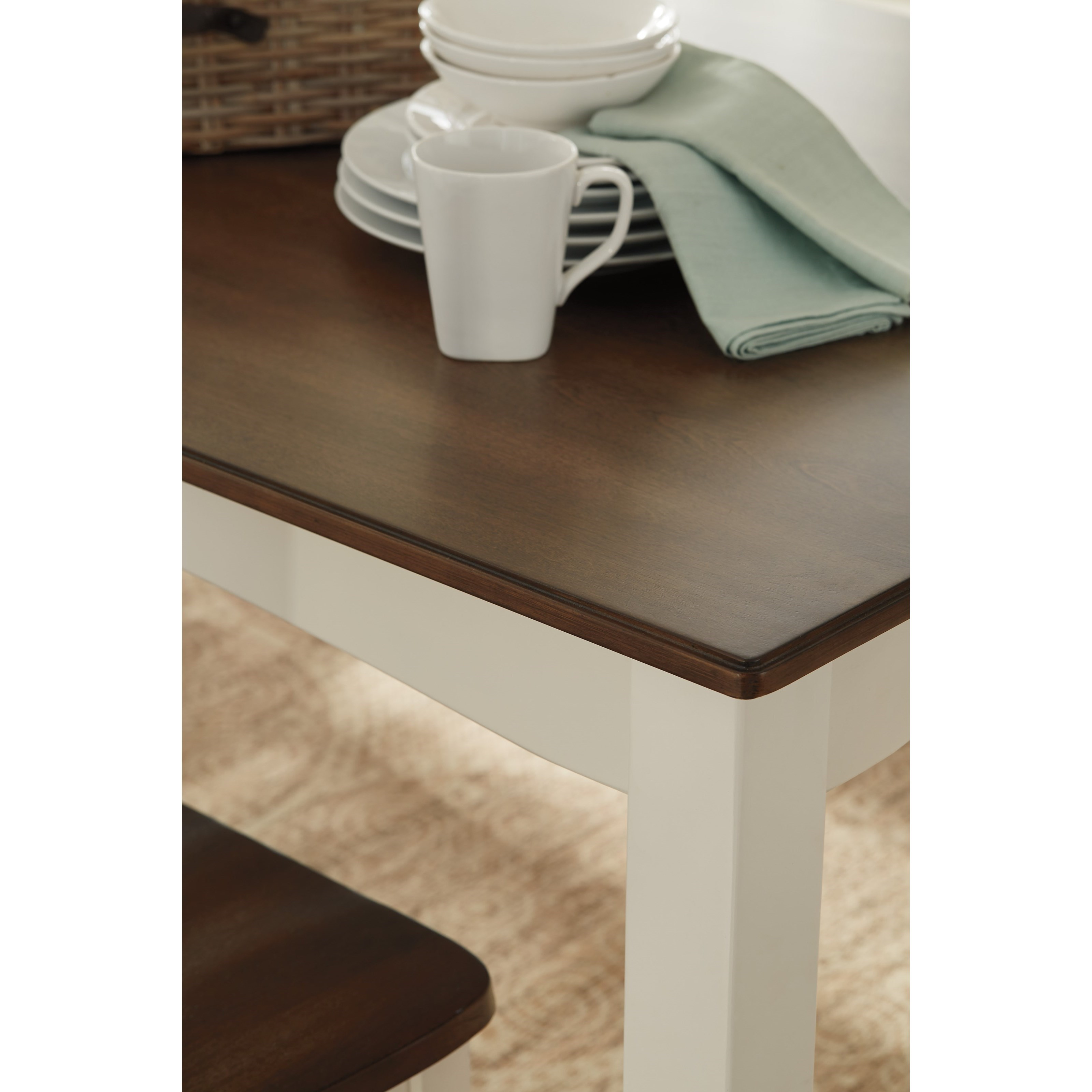 Two Tone Finish 7 Piece Dining Room Table Set By Signature
