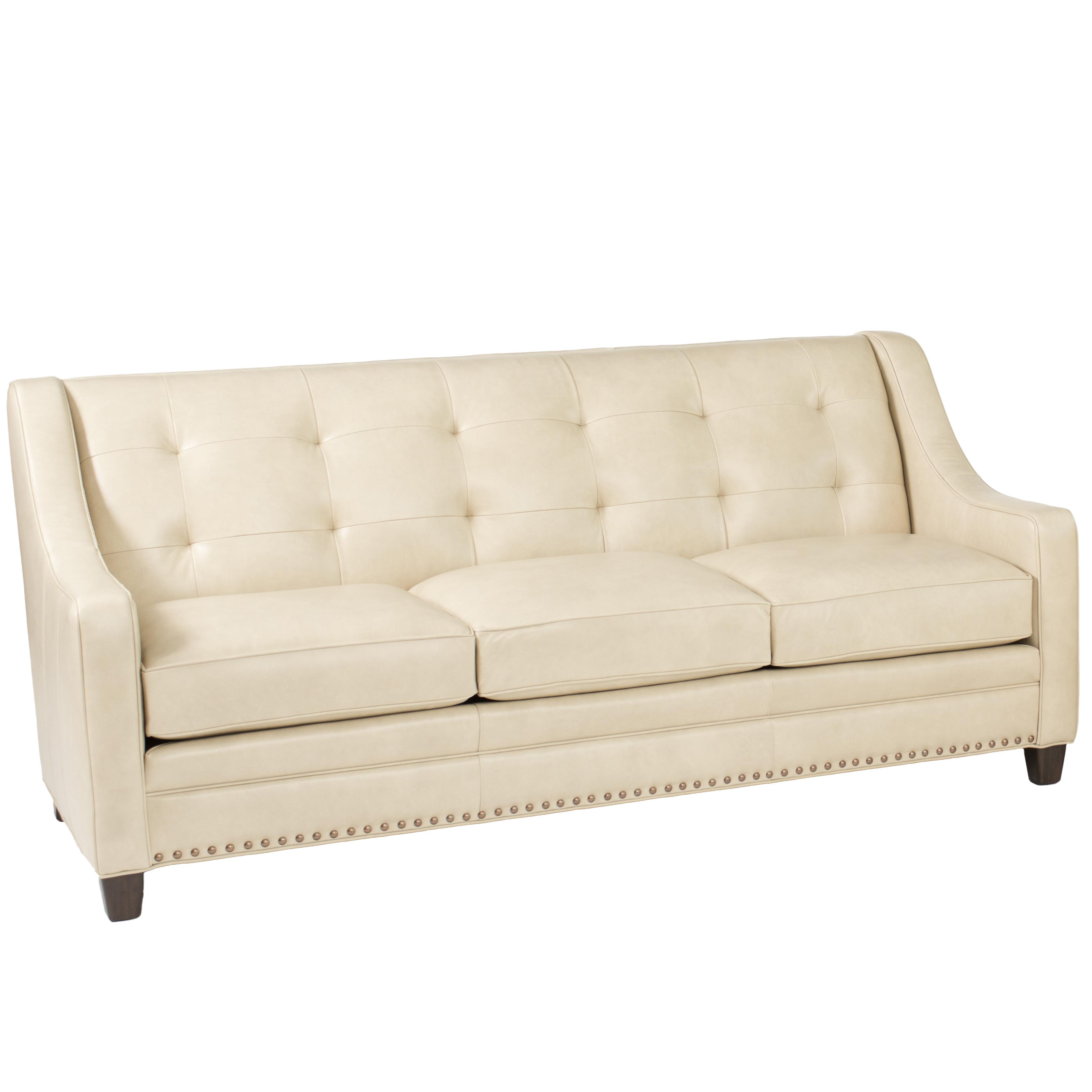 72 lancaster leather sofa roll arm bed transitional with tufting by smith brothers | wolf ...