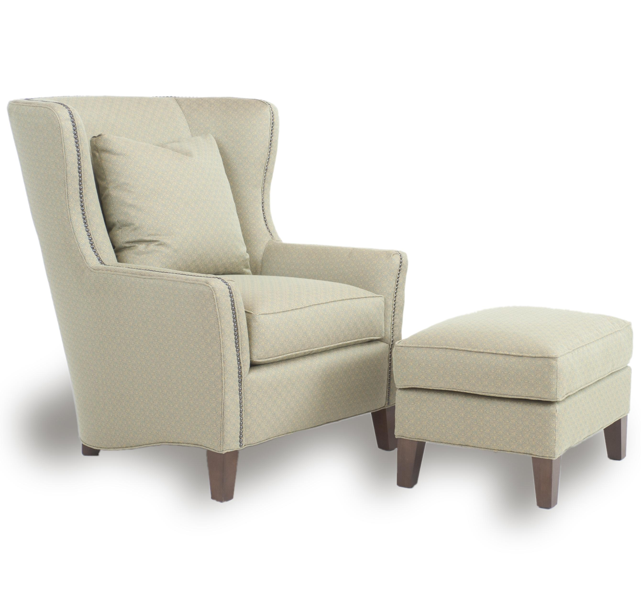 Contemporary Wingback Chair with Track Arms by Smith