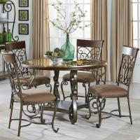 Round Table and Chair Set With Metal Scroll Detail by ...