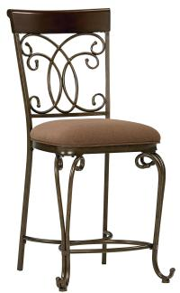Upholstered Counter Height Chair With Ornate Metal Back by ...