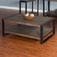 Distressed Pine Coffee Table with Industrial Metal Frame ...