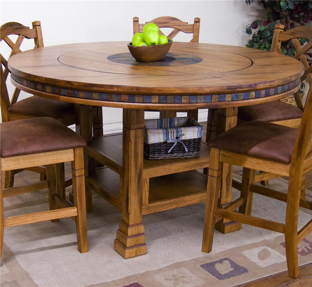 Adjustable Height Round Table w Lazy Susan by Sunny
