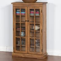 Rustic Oak CD Cabinet with Rainfall Glass Doors by Sunny
