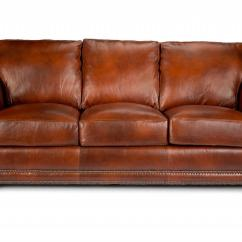 Rolled Arm Sofa With Nailhead Trim Birmingham Nottingham Sofascore Traditional Top Grain Leather By ...