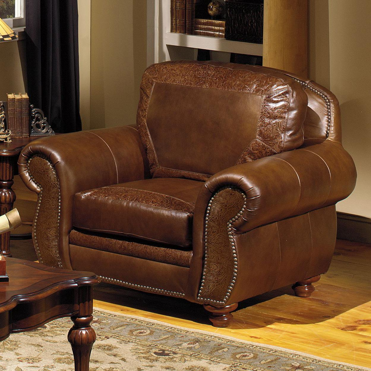 Traditional Leather Chair with Nailhead Trim by USA