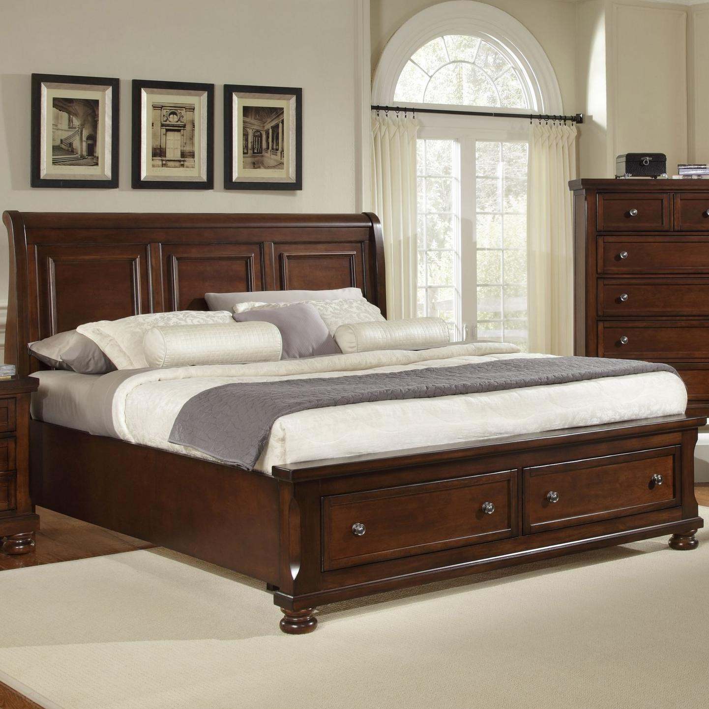 King Storage Bed With Sleigh Headboard By Vaughan Bassett