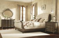 King Sleigh Bed with Linen Tufted Headboard and Footboard ...