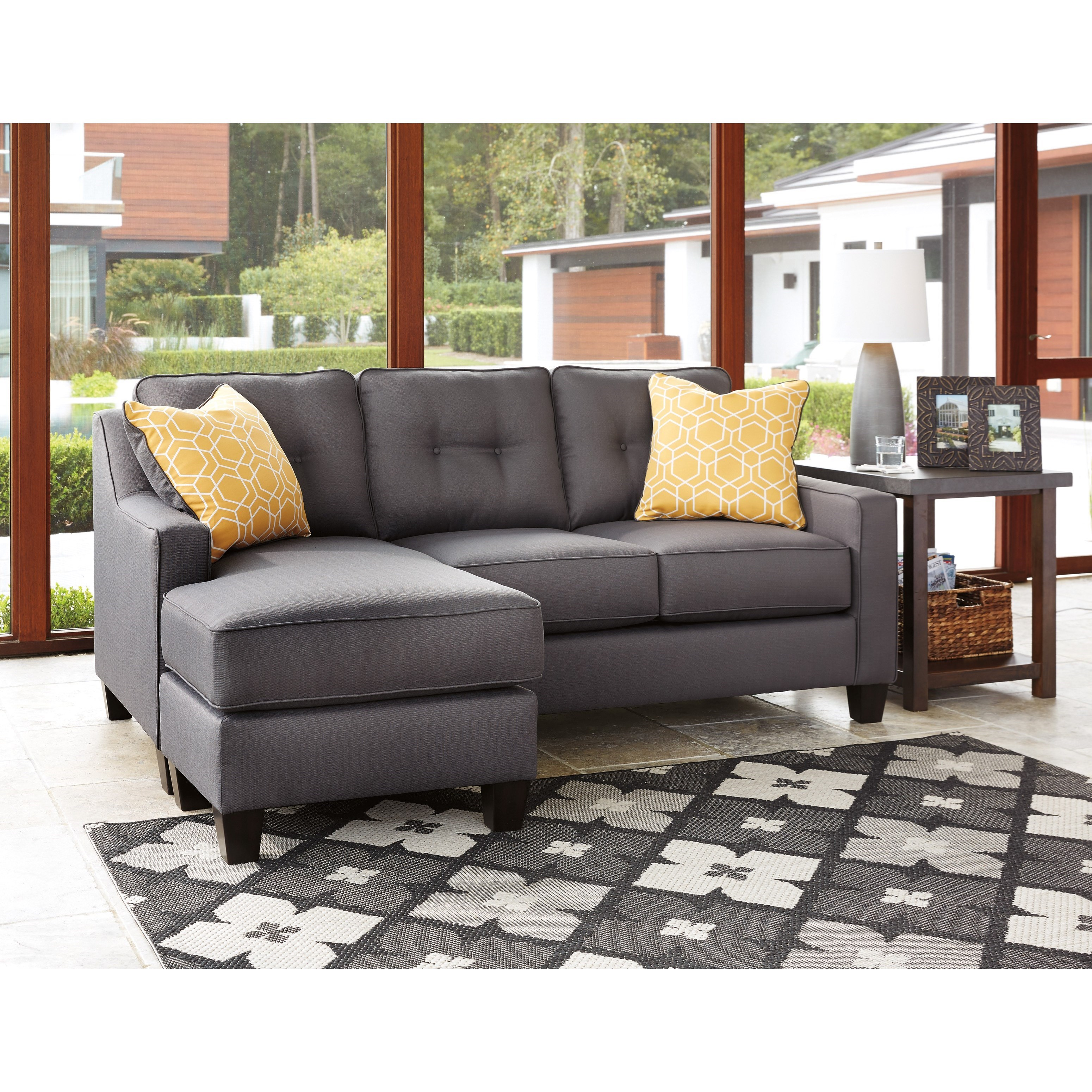 fabric queen sleeper chaise sofa unfinished table in performance by